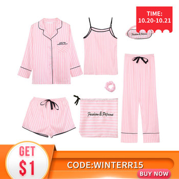 JULY'S SONG Pink Women's 7 Pieces Pajamas Sets Faux Silk Striped Pyjama Women Sleepwear Sets Spring Summer Autumn Homewear