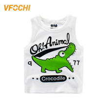 VFOCHI New Arrival Boys T Shirt Cartoon Animal Print Kids Clothes 2-10Y Teenager Boy Tops Color White Cute Shirts