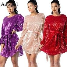 Adogirl Women Christmas Red Sequins O-Neck Long Sleeve Sashes Waist Slim Dress Elegant Night Club Party Mini Dresses Vestidos