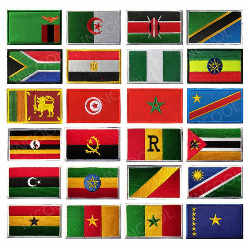 Afrika bayrağı mısır Kenya cezayir nijerya Angola tunus fas Sudan Malta bayrakları işlemeli yamalar amblemi aplikler 3D rozetleri