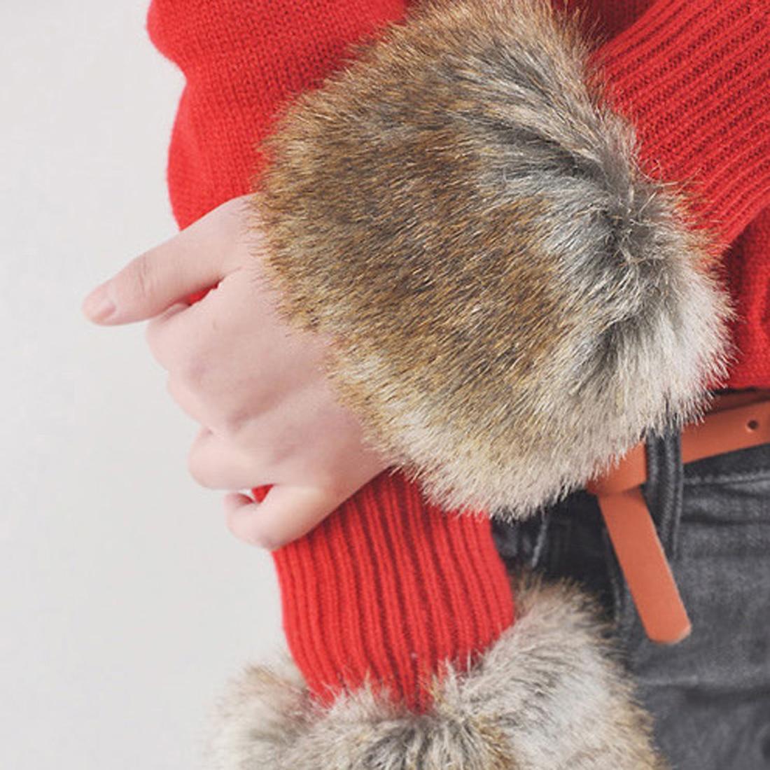 Fashion Women Winter Arm Warmers Faux Fur Wrist Slap On Cuffs Solid Ladies Plush Wrist Protector Warmer Cuffs Arm Warmers Wraps