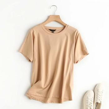 Withered Summer T shirt Women England Style Simple Solid O-Neck Cotton Match Basic Harajuku Tshirt 7