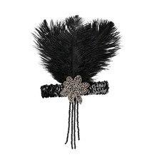 1920s Headpiece Feather Flapper Headband Great Gatsby Headdress Vintage