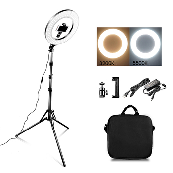 "capsaver 14"" LED Ring Light Ring Lamps Makeup Light with Stand Tripod Bi-color 3200K-5500K Annular Lamp for Video YouTube Photo"