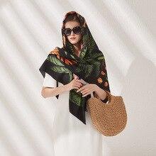 LESIDA Luxus Marke Design Palm Baum Winter Platz Schal 130cm Twill Seide Schal Frauen Halstuch Schals Für Damen Schal