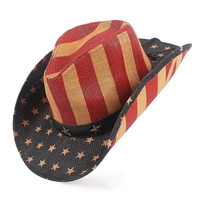 Classical Western Cowboy Hats Men Outdoor Boater Straw Sunhat Striped Star Summer 2022 Women Sun Hat Wide Brim Cowgirl hat