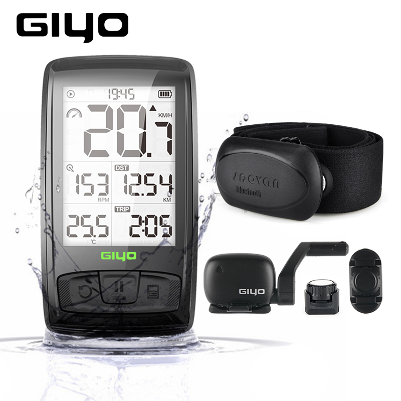 GIYO M4 Wireless Bluetooth Bike Computer Bicycle Speedometer Odometer Cycling Speed And Cadence Sensor Heart Rate Monitor