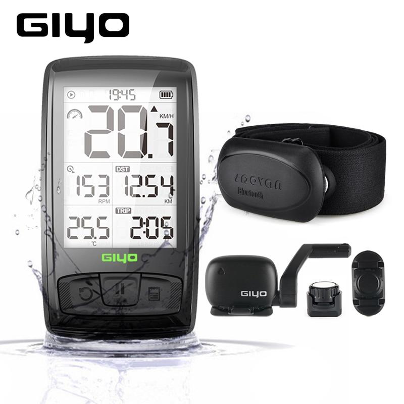 GIYO M4 Wireless Bluetooth Bike Computer Bicycle Speedometer Odometer Cycling Speed And Cadence Sensor Heart Rate Monitor