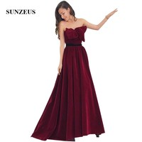 Burgundy Velour Evening Dresses A line Strapless Long Formal Gowns With Bow Elegant Party Gowns For Women