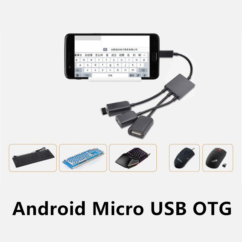 FFFAS 3 In 1 Micro USB OTG Cable Mobile Phone Gaming Android Game Adapter Converter For OPPO Samsung Keyboard Mouse USB Flash