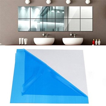 1pc Wearable Practical Mirror Tile Wall Sticker Square Self Adhesive Sticker Room Bathroom Decor image