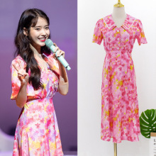 Flower naval collar Dress for women DEL LUNA Hotel same IU Lee Ji Eun in summer temperament sweet woman TV Korean dress