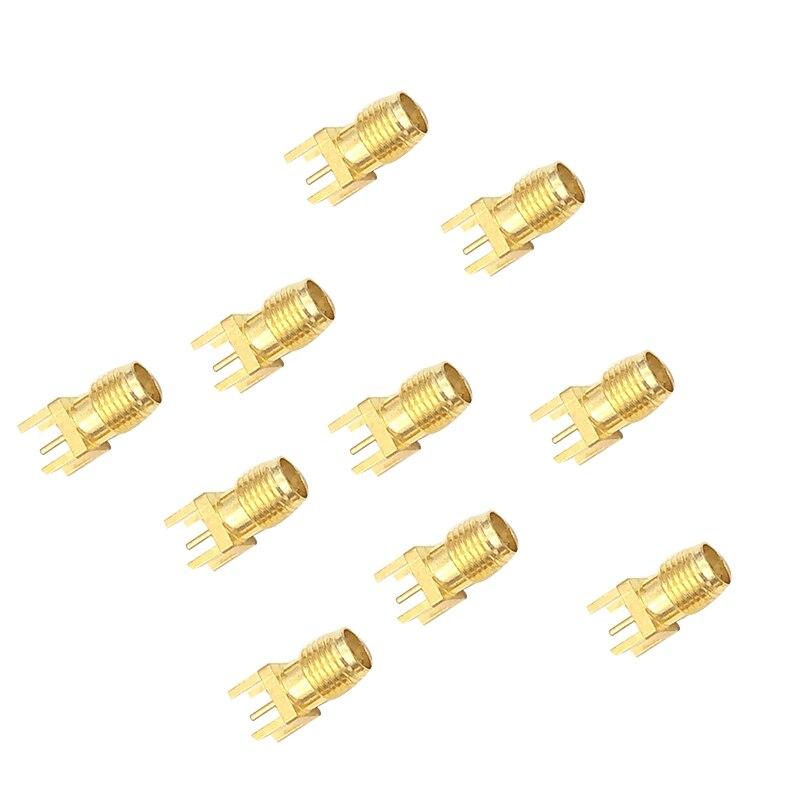 ¿Adaptador de conector hembra SMA borde de soldadura PCB montaje recto RF de toma de conexión de cobre 10 Uds?