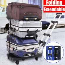 Carrinho dobrável portátil do trole da bagagem para o acessório do curso do carro bagagem transporte reboque ajustável lidar com chassi