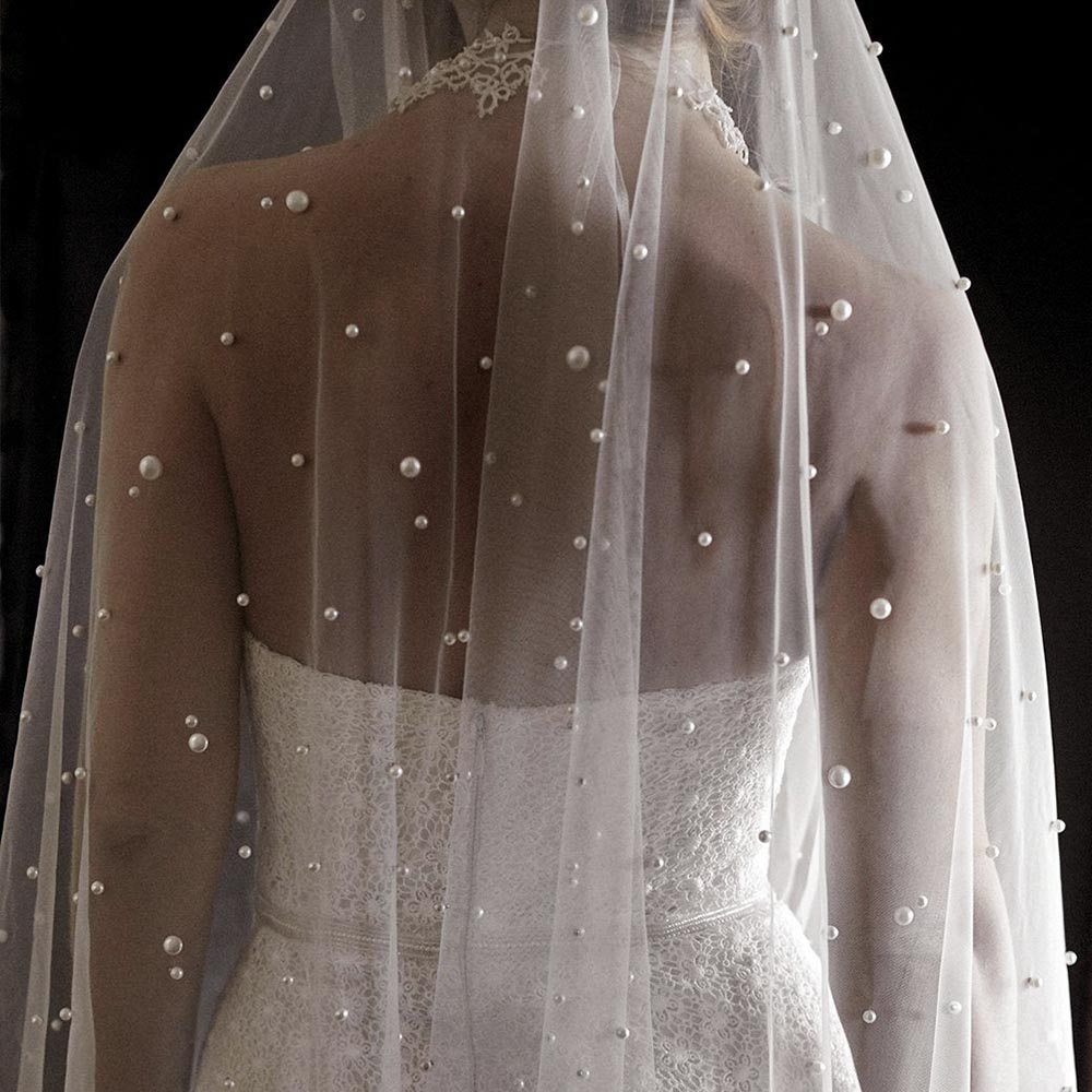 Pearls White Ivory Long Bridal Veil With Comb One Layer Cathedral Wedding Veil with Pearls Velos de Noiva Crystal Beads 3Meters