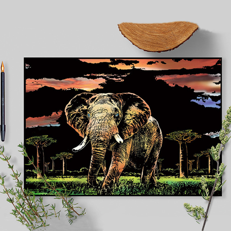 41*28cm Animal Scratch Painting Cards Elephant Zebra Diy Art Adult Crafts Scratch Paper Home Decor Drawing Decompression Toys