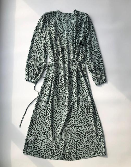 100% Viscose Lady Midi Wrap Dress New Lips Print V Neck Lace Up Long Sleeve Spring Summer Must Have Dress