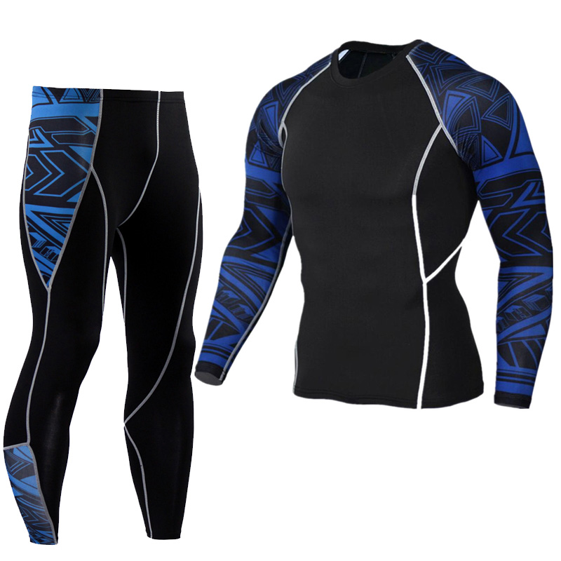 New Suit Men's Clothing Sport Thermal Underwear Track Field Training Pants T-shirt Union Suit Compression Sportswear Base Layer