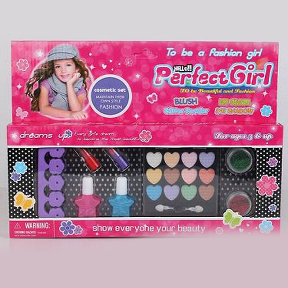Kids Make Up Kit Pretend Play Make Up Case And Cosmetic Set Girls Pretend Play Face Nail Hair Styling Set