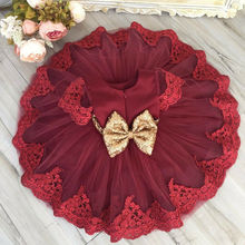 Princess  Kid Baby Girls Tutu Red Dress Party Wedding Birthday Dresses For Girls Sequins Tulle Dress Christmas Costumes baby girls clothes christmas carnival party costumes vestido red children dresses with feather christmas new year tutu dresses