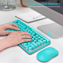 2.4G Wireless Keyboard Gaming Mouse Set Retro Round Keycap Mini For Macbook Lenovo PC Laptop Keypad Computer Mice