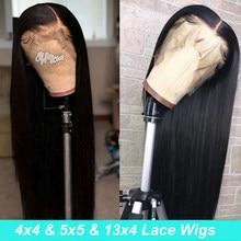 Perruque Lace Frontal Wig indienne naturelle, cheveux lisses, 13x4, 5x5, pour femmes africaines