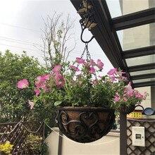 Rustic Iron Metal Garden Hanging Flower Basket Pot Holder Outdoor Plant Hanger Outside Decor EMS Free Ship
