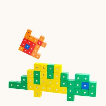 Bloques de construcción magnéticos para niños, modelo 3D DIY, volumen cúbico de madera con, 10 Uds., juguetes educativos para matemáticas, regalos de navidad