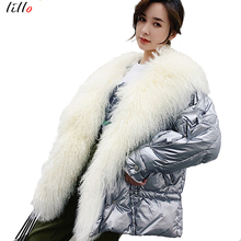 Star models net red lamb hair down jacket collar profile fur coat female 2019 winter new light short silver fashion