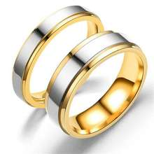 Women Jewelry Titanium Steel Ring Mirror Polished gold couple Rings sd021