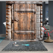 Old Retro Wooden Door Pattern Shower Curtain Digital Printing Polyester Shower Curtain Bathroom Waterproof Shower Curtain novelty 3d end of the world digital printing shower curtain for bathroom