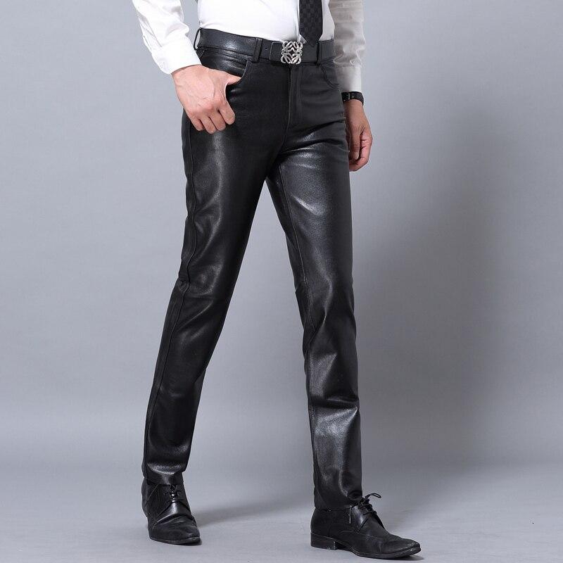 Mens Brand Sheepskin Real Leather Pants Casual Business Classic Full Length Black Trousers Autumn Fleece Lining Skinny Biker Man