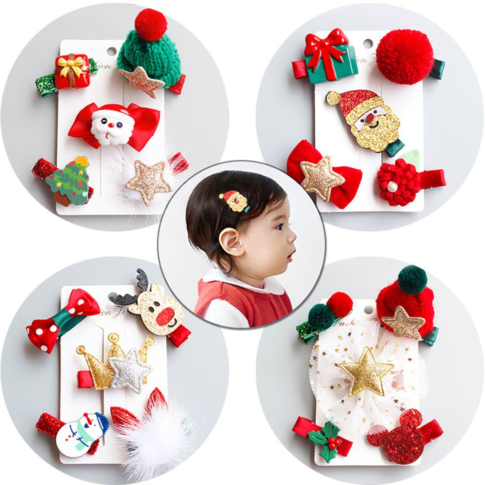 5Pcs/set Women Girls Cute Christmas Hairpins Hair Clip Bands Cartoon Headwear Kids Barrettes Toddlers Charm Jewelry Gift