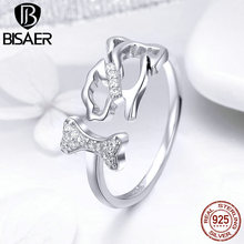 BISAER Silver Ring Authentic 925 Sterling Silver Lovely Dog and Bone Open  Finger Rings for Women Fashion Jewelry HSR416 bisaer silver rings 925 sterling silver pet french bulldog open finger ring for women silver ring fashion jewelry hsr411