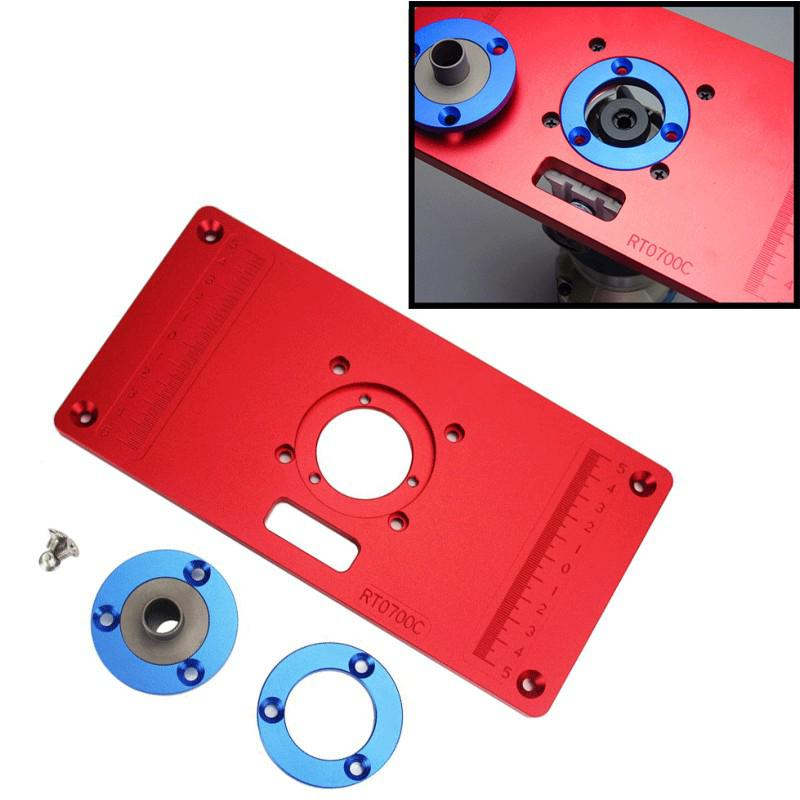 Aluminum Router Table Insert Plate W/ 2 Router Insert Rings For Woodworking Benches