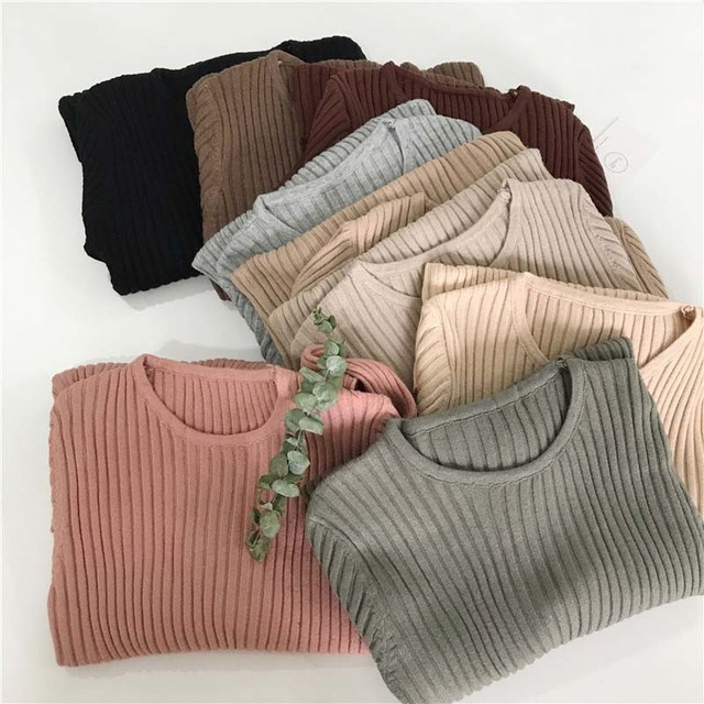 Basic Knitted Sweater Women Autumn Winter Bottoming Sweaters Pullover Lady Casual O-neck Slim Jumper 5