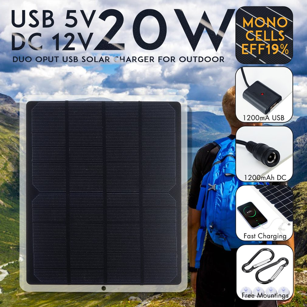 Flexible Solar Panel 20w Panels Solar Cells Cell Module DC For Car Yacht Light RV 12v Battery Boat 5v Outdoor Charger