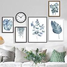 Плакат с акварельными листьями растений print monsterea стены