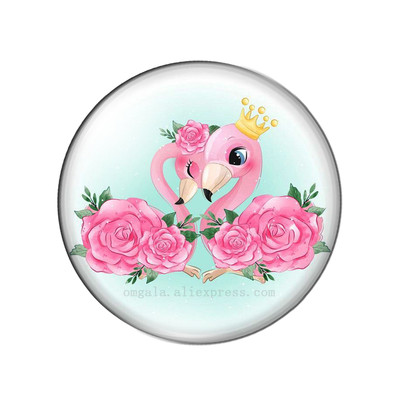 Fashion Cartoon Beauty Love Flamingo Animals 10pcs 12mm/18mm/20mm/25mm Round photo glass cabochon demo flat back Making findings