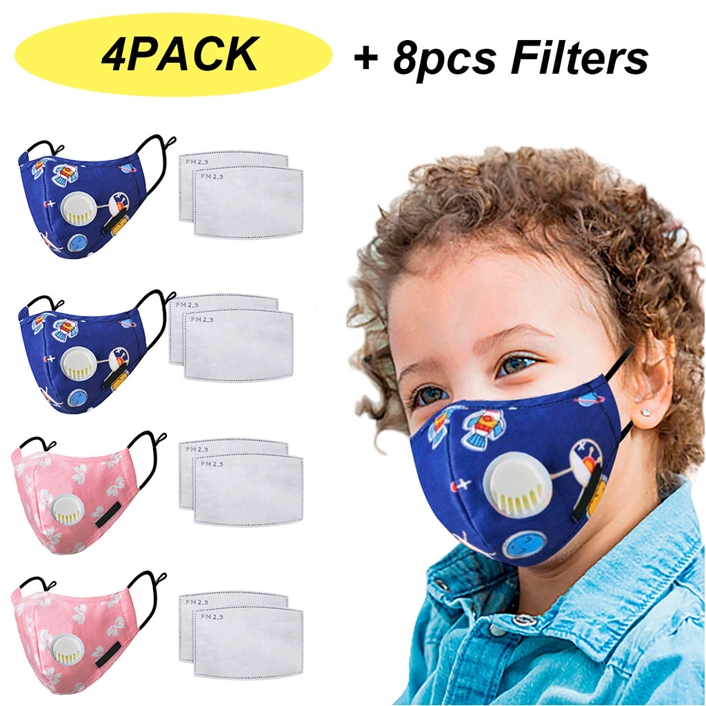 4PC Cute Cartoon PM2.5 Mouth Face Maske With Valves 8PC Filter Pad Kids Anti-smoke Dust Mouth Face Maske Respirator Washable