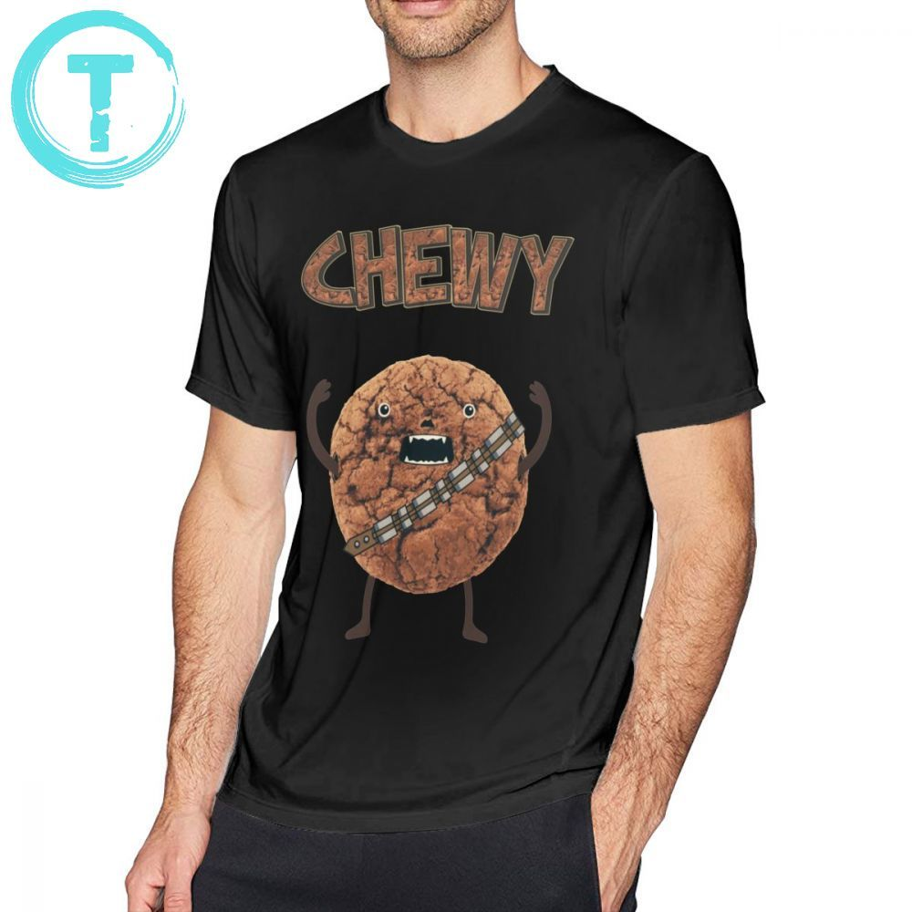 Chewbacca t shirt chewy chocolate biscoito wookiee camiseta impresso camisa de algodão dos homens streetwear mangas curtas tshirt