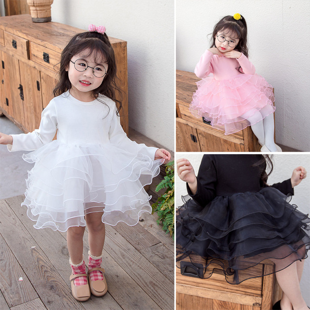 Baby girl clothes baby girl long sleeve stitching mesh tutu princess dress baby girl sweet cute baby girl dress 2