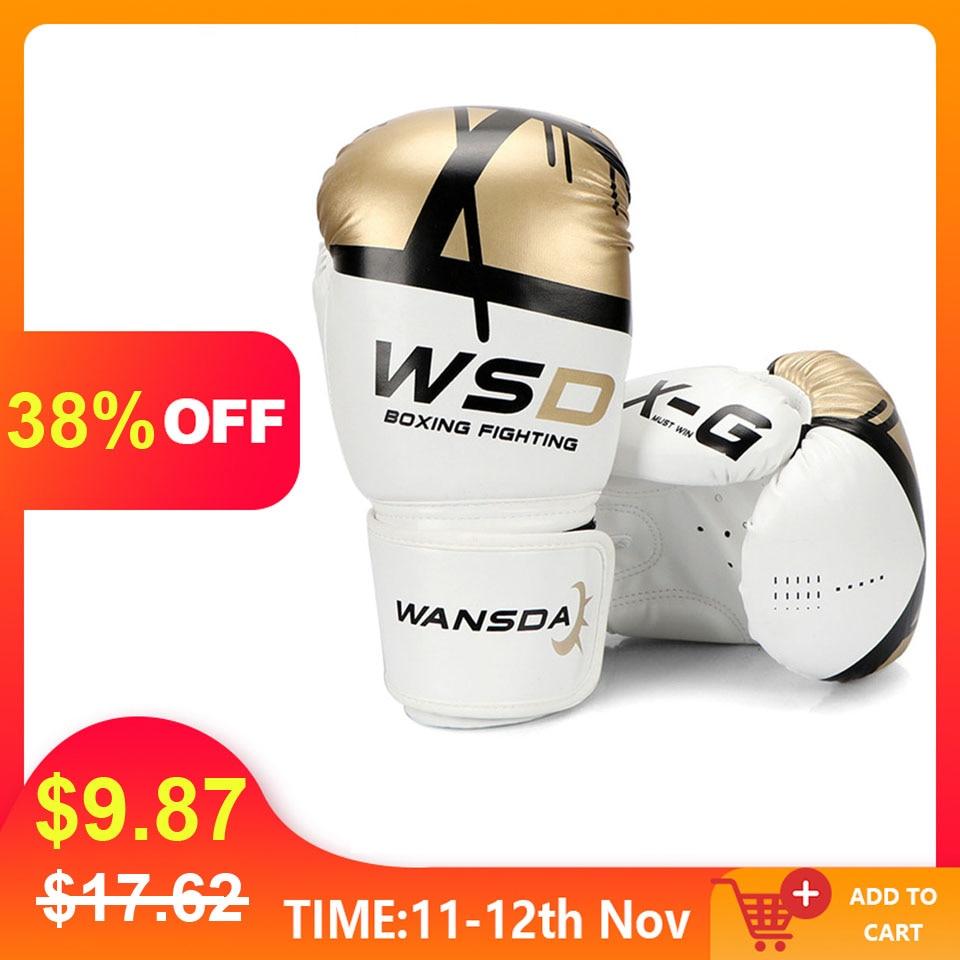 Alta qualidade adultos mulheres/homens luvas de boxe couro mma muay thai boxe de luva luvas sanda equipments8 10 12 6 oz