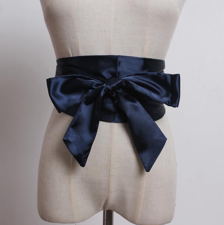 Women's Runway Fashion Bow Satin Cummerbunds Female Dress Coat Corsets Waistband Belts Decoration Wide Belt R1814