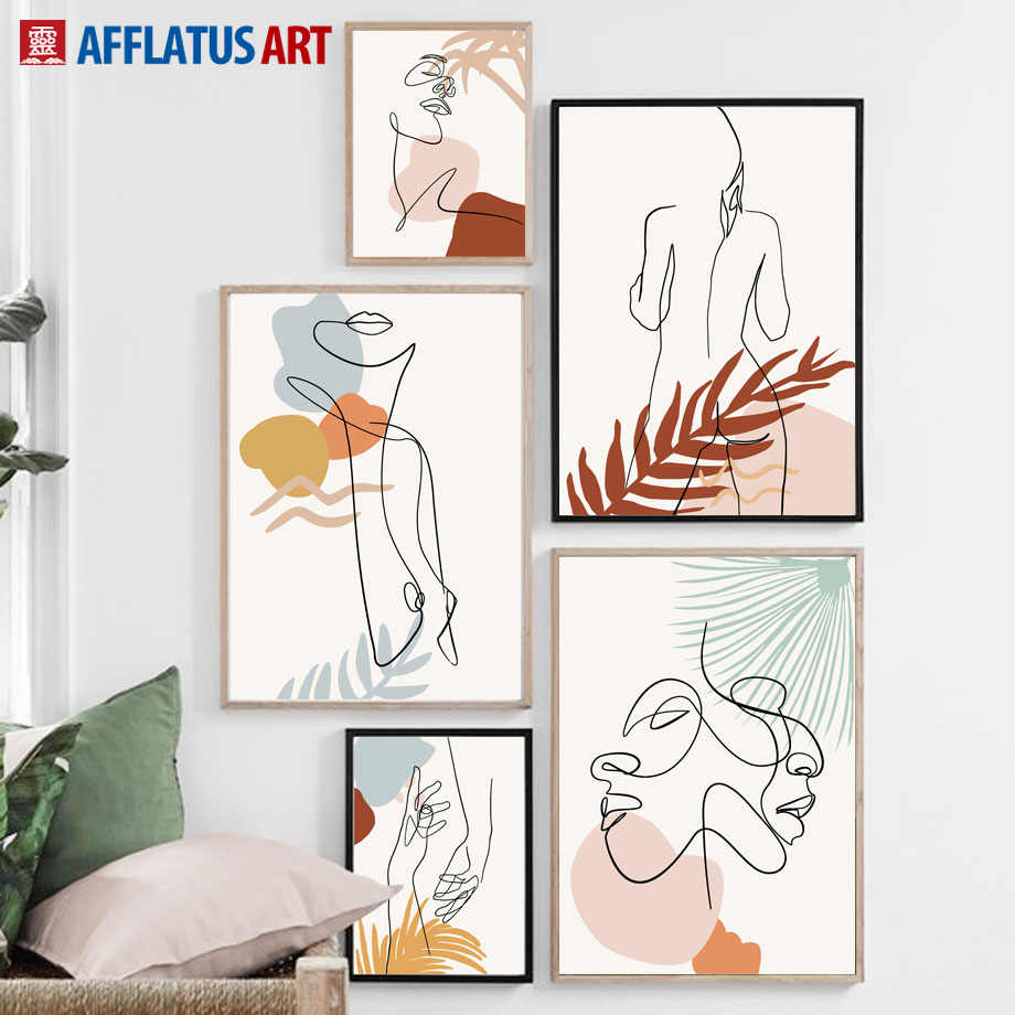 Abstract Plant Leaves Girl Figure Wall Art Canvas Painting Nordic Posters And Prints Wall Pictures For Living Room Home Decor