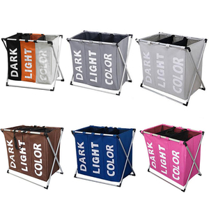 2020 Deluxe Dirty Clothes Laundry Basket Bamboo Detachable Three Grid Home Waterproof Laundry Basket 3 sections