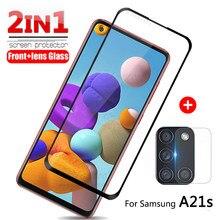 2in1 protetor de vidro temperado para samsung galaxy a21s a21 película protetora da lente da câmera um 21s a215u a217f telefone armadura capa de vidro