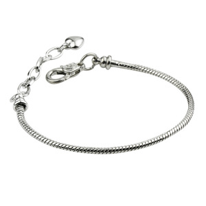 High Quality Silver Color Snake Chain Jewelry Lobster Clasp Hearts Bracelets for Women Birthday Jewelry DIY Gifts