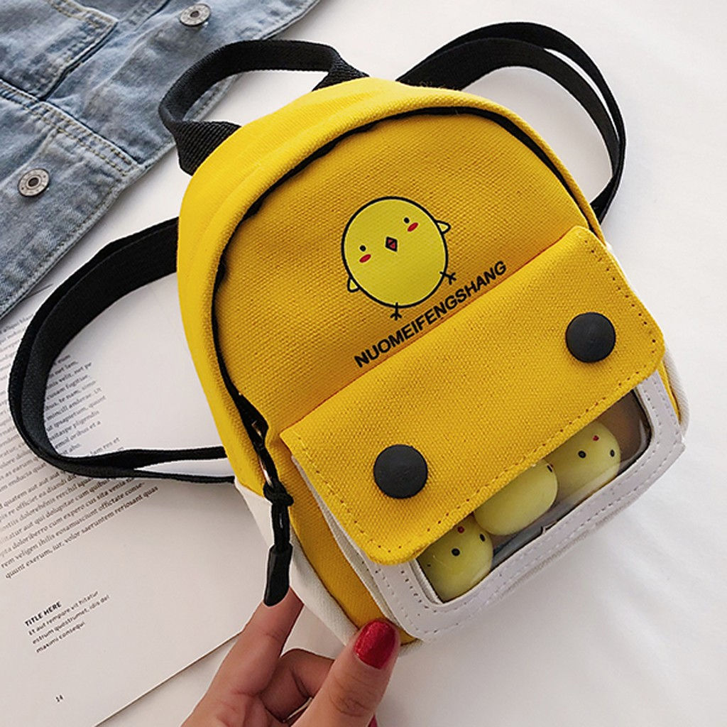 2019 New Women's Backpack Fashion Female Trend Solid Color Cute Chick Pattern Canvas Backpacks Ladies Shoulder Bag(China)