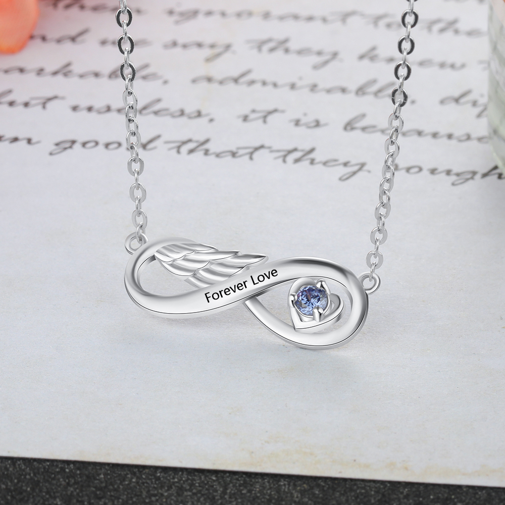 Personalized Mothers Necklace 925 Sterling Silver Engraved Heart Name Necklaces with Birthstone Custom Infinity Jewelry for Women